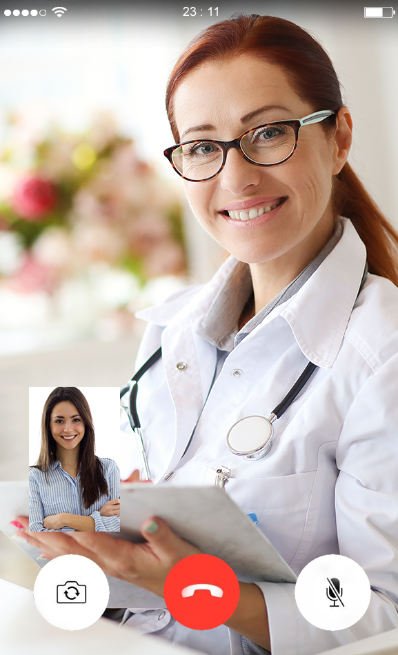 Video call female doctor attending happy patient - Virtual Docs Online
